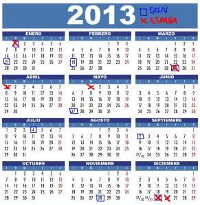 calendario 2013 de festividades de los Mercados de EEUU y España